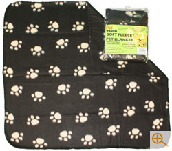 Fleece Cat Blanket in Brown with Paw Print Design