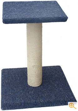 Blue carpet and sisal covered cat scratching post and platform